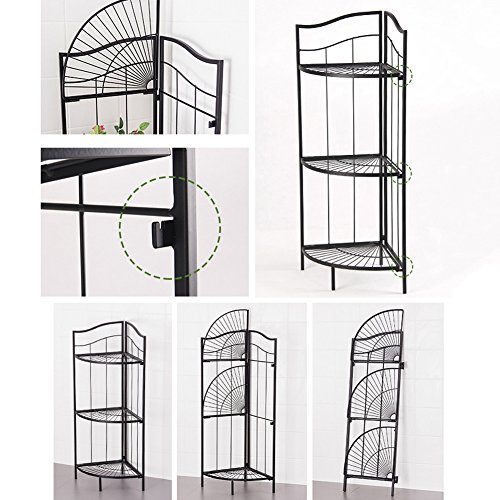 LIANGLIANG Iron Corner Flower Rack Pot Shelf Plant Ladder Floor Display Stand Metal 3-Tier Folding Indoor Living Room Balcony Black, 41.63285.7cm by LLDHUAJIA (Image #3)