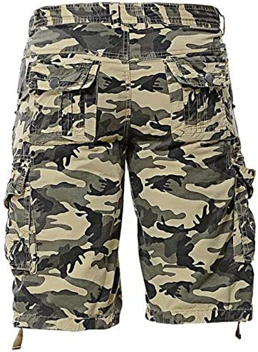 SHUQI Mens Summer Loose Casual Camouflage Tooling Shorts Large Size Multi-Pocket Five-Point Pants