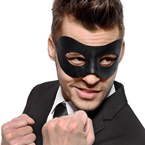 Classic - Black Masquerade Mask - Faux Leather - Prom - Halloween - 50 Shades - Fancy (Home Goods Halloween Costumes)