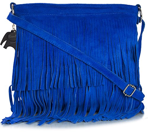 LIATALIA Womens Fringe Handbag - Real Italian Suede Leather - Cross-Body Messenger Bag (Small\Mini Size) - ASHLEY [Electric Blue] (Suede Messenger)