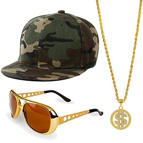 ZeroShop 80s/90s Hip Hop Costume Kit - Cotton Bucket Hat,Gold Chain Beads,Oversized Rectangular Hip Hop Nerdy Lens Sunglasses (OneSize, Green2)]()