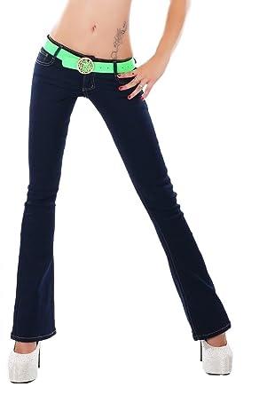 7d4db48c3501e Noir Triple XXX Womens Navy Blue Low Rise Bootcut Stretch Jeans Sizes UK  6-14  Amazon.co.uk  Clothing