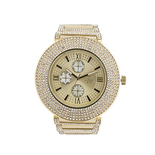 5 Row Fully Bling Bezel Iced Out Hip Hop Designer Watch with Luxury Crystals on Metal Band- (Metal Band Bling Watch)
