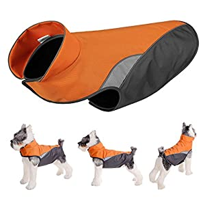 FOREYY Dog Jacket with Waterproof Outer Layer and Warm Fleece Inner Layer - Reflective Dog Pet Winter Coat Vest Apparel for Small Medium and Large Dogs(Orange,XL)