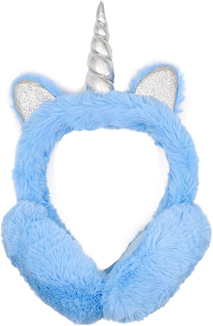 ZTL Foldable Unicorn Earmuffs for Girls Kids Women Soft Plush Winter Ear Warmers