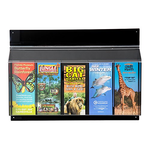 Source One Acrylic Black Outdoor Trifold Brochure Holder, Multiple Sizes Available (1 Pack, 5 Pocket) by SOURCEONE.ORG