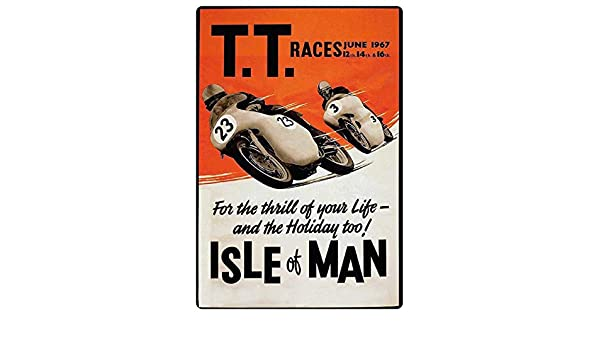 Cartel de Chapa gen/érica 20 x 30 cm TT Races 1967 Isle of Man Moto Biker Metal Cartel