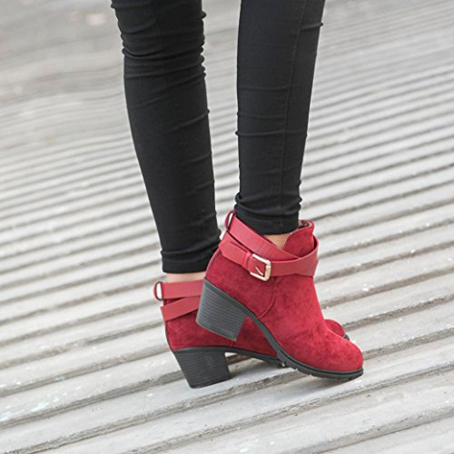 Winter Egmy Boots Ladies Ankle Winter Snow Low Heel Belt Buckle Shoes Martin Red Women's Boots xrnw4qBr