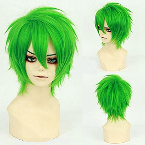 [Fashion Short Hair Cosplay Wigs Curly Hair Tail Heat Resistant Green Costume Wig by UPS] (Ups Package Costume)