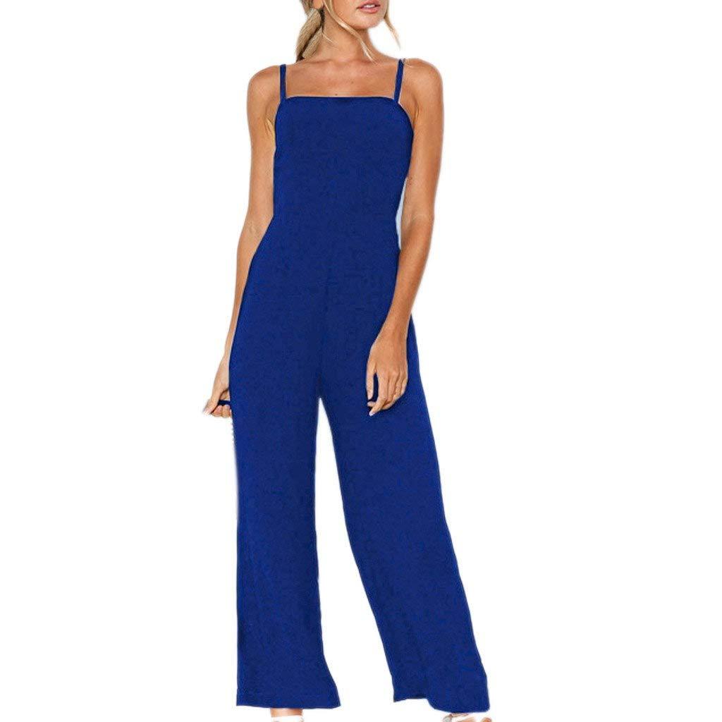 Women Fashion Jumpsuits Summer Casual Sexy Spaghetti Strap Sleeveless Wide Leg Palazzo Pants Tank Rompers Playsuit (Blue, M)