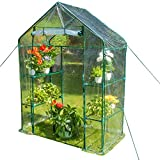 Sundale Outdoor Gardening Portable 2 Tier 4 Shelf Steeple Greenhouse with PVC Cover, Hot Green House, 56.5''(L) x 29''(W) x 75.5''(H)
