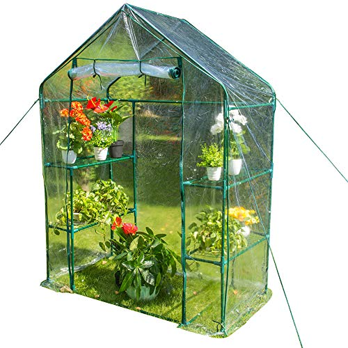 - Sundale Outdoor Gardening Portable 2 Tier 4 Shelf Steeple Greenhouse with PVC Cover, Hot Green House, 56.5