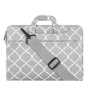 MOSISO Laptop Shoulder Bag Compatible with 12.3 inch Microsoft Surface Pro 6/5/4/3, 11-11.6 Inch MacBook Air, Ultrabook Tablet, Canvas Geometric Pattern Briefcase Sleeve, Gray Quatrefoil