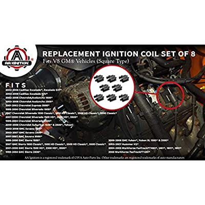 Ignition Coil Set of 8 - Replaces 12558693, GN10298, UF271, 5C1083, C1208, D581 - Fits Cadillac Escalade, Chevy Silverado, Avalanche, Express 3500, Suburban, Tahoe, GMC Sierra, Savana, Yukon and more: Automotive