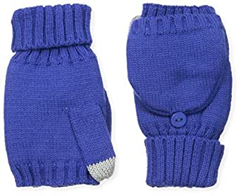 Dearfoams Women's Flip Top Sherpa Line Glove, Cobalt, One Size