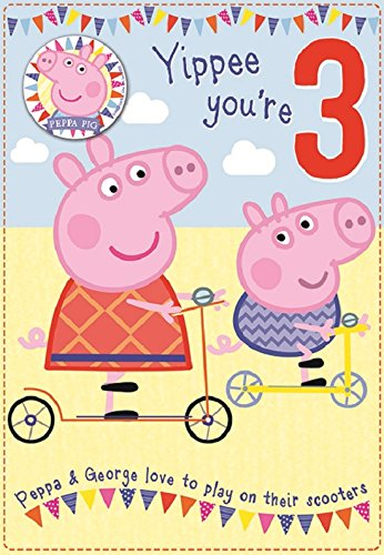 Amazon Peppa Pig Yippee Youre 3 3rd Birthday Card And Badge