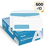 500 #10 SINGLE Left Window Security Envelopes - Security tinted, GUMMED Closure, Size 4-1/8 x 9-1/2 Inches, 24 LB - 500 Count (35310)