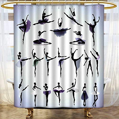 Shower Curtains Fabric Extra Long House Ap Ment Female Ballet Dancers Silhouettes istic Design BlackAnd Purple Fabric Bathroom Set with Hooks Size:W60 x L72 inch