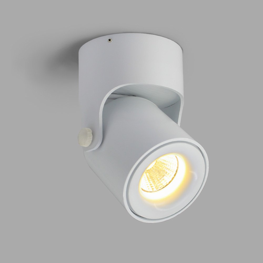 Aisilan LED Ceiling Spotlight White 180°Adjustable, Warm White Sleek Modern Design Direct Installation Integrated Downlight 5W 3000K Perfect for Home,Office,Exhibition,Events Lighting MSD40-W-3K-5W