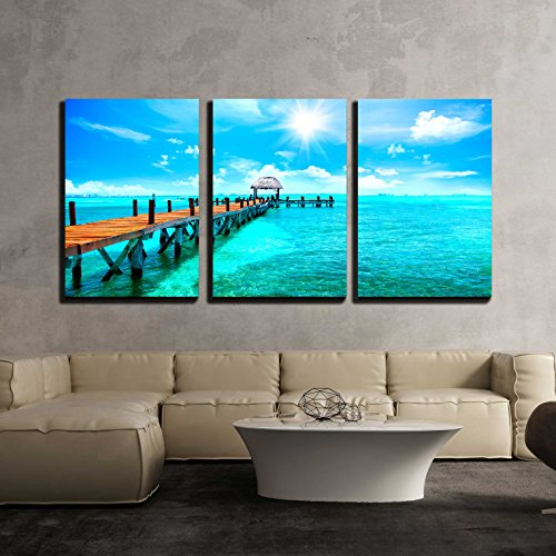 Exotic Caribbean Island Tropical Beach Resort Travel or Vacations Concept x3 Panels