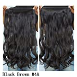 Secret Halo Hair Extensions Flip in Curly Wavy Hair Extension Synthetic Women Hairpieces 20' (Black Brown #4A)