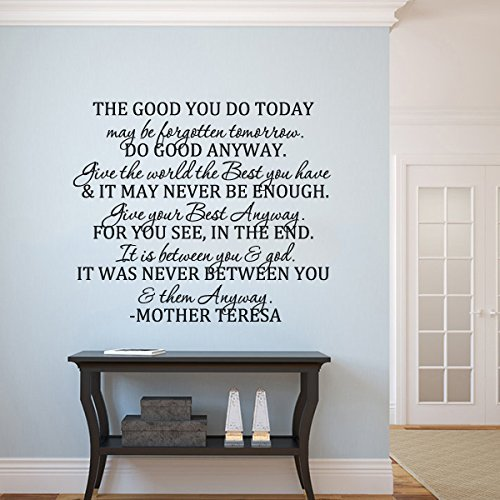 X-Large,Black Wall Decal Decor Positive Saying Mother Teresa Quote Nursery Bedroom Decal-Do Good Anyway-Christan Gift Bedroom Headboard Wall Graphics