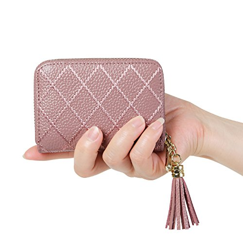Women's RFID Blocking 15 Slots Card Holder Leather Zipper Accordion Wallet,Dark Pink (Best Place To Sell Gift Cards In Person)