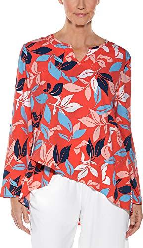 Coolibar UPF 50+ Women's Santa Barbara Tunic Top - Sun Protective (2X- Coral Tropical Island)