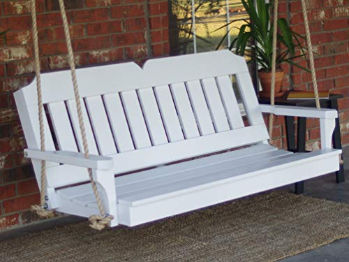 THREE MAN Painted White Victorian Porch Swing with Hanging Rope - 5 Foot