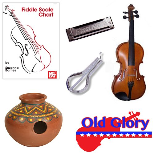Old Glory Fiddle Deluxe Pack - 1/2 Fiddle, Fiddle Scale Chart, Harmonica, Jaw Harp & Jug Drum