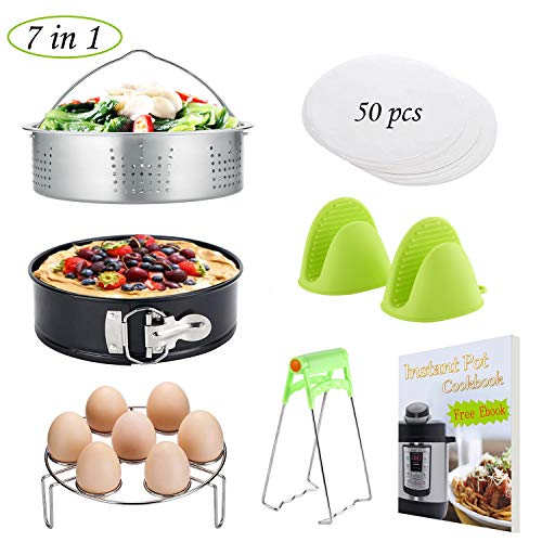 Instant Pot Accessories Set/Non-stick Springform Pan, Including Steamer Basket/Egg Steamer Trivet (Steaming Stand) / 50 Pcs Parchment Paper/Cooking Mitts/Dish Clip Fits 5,6,8 Qt Instant Pot