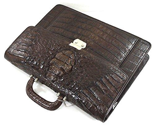 Bag Skin Handbag Authentic Business Hornback Mens Crocodile Briefcase Brown M Strap Large Dark FqB68