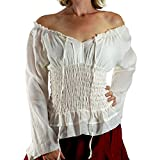 'Long Sleeve Peasant Blouse' - Womens Renaissance, Gypsy Costume, Boho - Cream