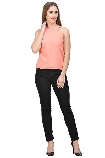 04b64cbf6fecd Castle Peach Solid Georgette Crop Top  Amazon.in  Clothing   Accessories