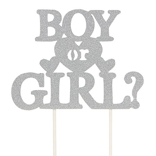 Single Sided Booth (INNORU Boy or Girl Cake Topper - Single Sided Silver Glitter Baby Show Party Photobooth Props)