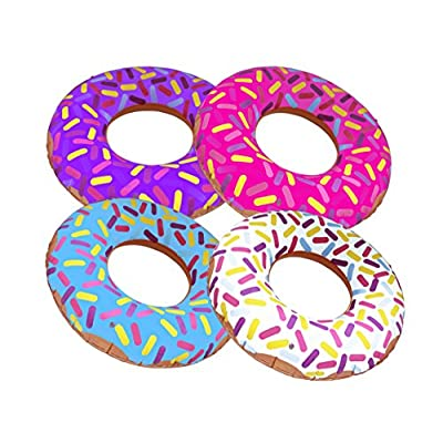 """Inflatable Donuts 24"""" - Pack of 4 Delicious Looking Sprinkle Donut Inflatables: Toys & Games"""
