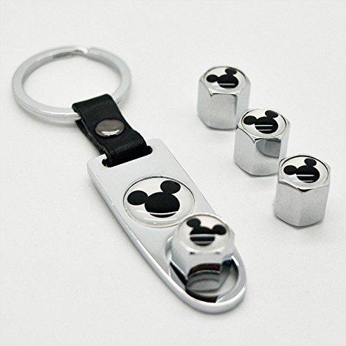 US85 Chrome Mickey Car Wheel Tyre Tire Metal Alloy Stem Valve Cap /& Keychain Set