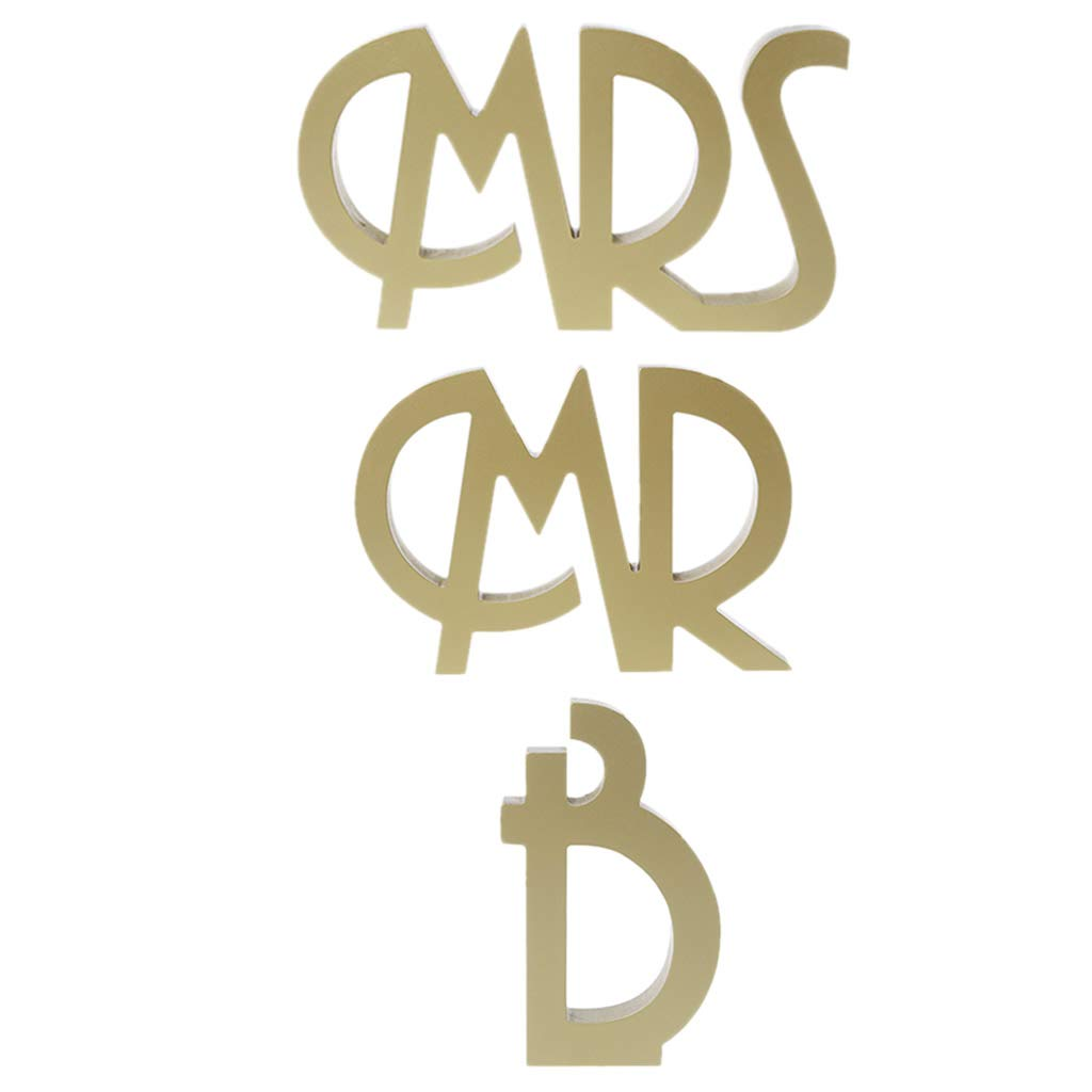 Numkuda Mr and Mrs Letters Sign Wooden Standing Top Sweetheart Table Wedding Party Decor