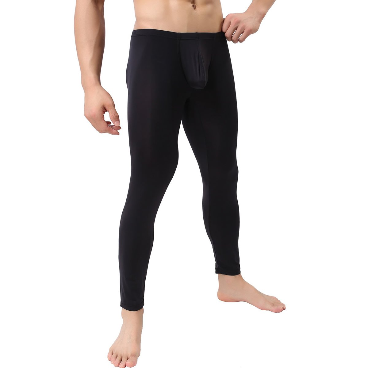 Men's Tight Long Underwear Sexy Long Pants Sexy Tight Underwear Soft Compression Underwear for Men Long Leggings Pants (Black US Small/with Tag M)