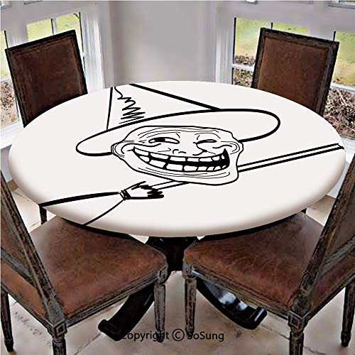 Elastic Edged Polyester Fitted Table Cover,Halloween Spirit Themed Witch Guy Meme LOL Joy Spooky Avatar Artful Image,Fits up 40