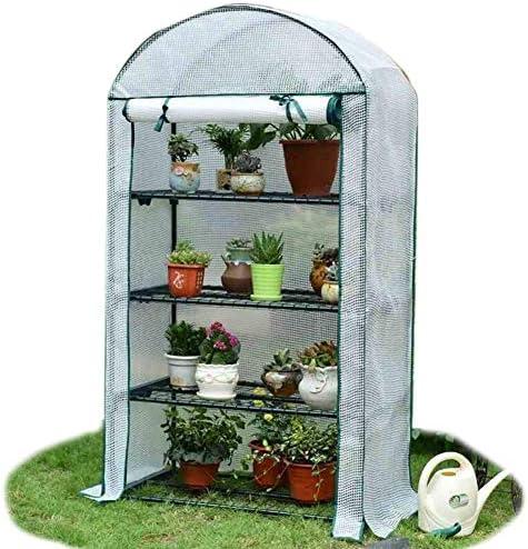 冬の屋外植物用LLSS小規模温室-防水ヘビーデューティカバー付き4段ポータブルウォークインフラワープラントスタンド