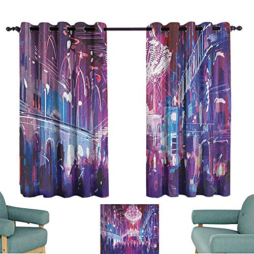 "Fantasy Art House Decor Bedroom Windproof Curtain Opera Opening Elite People Night Club Bright Lights Big Crowd Artwork Darkening and Thermal Insulating 63"" Wx72 L Blue"