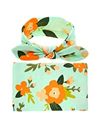 Fashion Swaddle Blanket Headband with Bow Receiving Blanket Set for Newborn baby