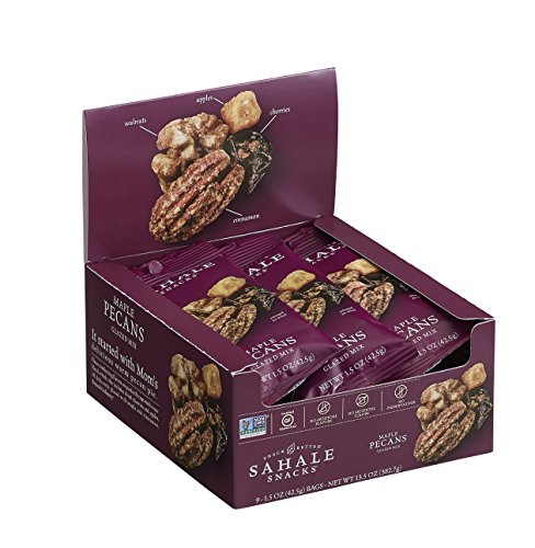 Sahale Snacks Maple Pecans Glazed Mix, 1.5 oz, Pack of 9 – Nut Snacks in a Grab 'n Go Pouch, No Artificial Flavors, Preservatives or Colors, Gluten-Free - Pecan Pie Mix