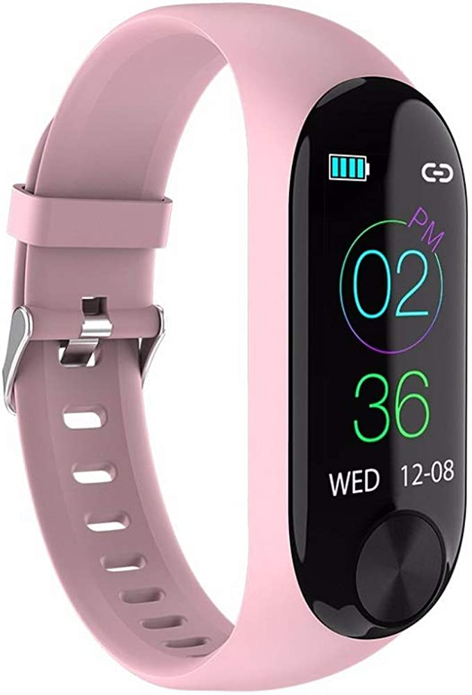 Smartwatch Unisex Miss Fortan Reloj Digital Deportes Fitness Actividad Reloj Mujer Hombre Impermeable Reloj de Pulsera, Grabar(podómetro, Quema de calorías, kilometraje) (Rosa)
