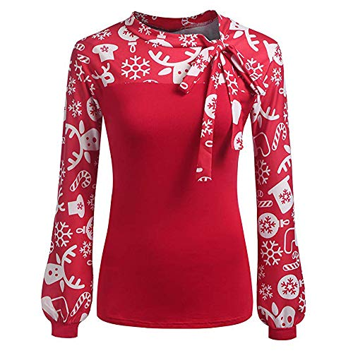 Sunhusing Women's Lantern Long Sleeve Christmas Print Bow Lace-Up Stuffed Pullover Top ()