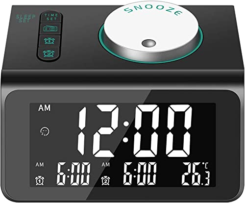 Alarm Clock for Heavy Sleepers, 7 Wake-up Sounds, 5-Level Brightness Dimmer, 2 USB Charger, Sleep Timer,Thermometer, FM Radio Clock w Battery Backup for Bedrooms, Office, Desk, Travel