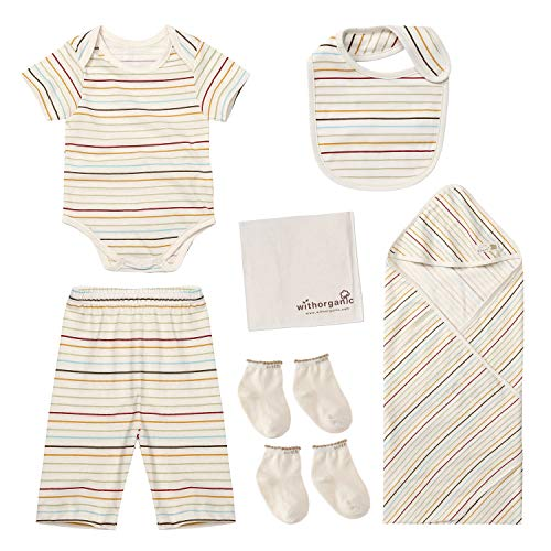 WithOrganic Newborn 7-Piece Organic Gift Set /100% Organic Cotton (6M, Baby Stripe)