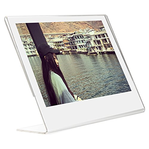 Woodmin 5 inch Clear Acrylic tabletop Slant Photo Frame for Fujifilm Instax Wide 210,Wide 300,Polaroid 600, Polaroid PX70, PX 680, PX 600, PX100,FP100C,FP 3000B Films, Sign Holders Vertical (1 - Frame Polaroid Wide