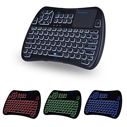 (2018 Latest,Backlit+IR Learning) iPazzPort Mini Wireless Keyboard with Touchpad Mouse Combo,Universal Infrared Remote Control for Smart TV, Android TV Box,HTPC, IPTV, Raspberry Pi 3 B+ KP-810-61